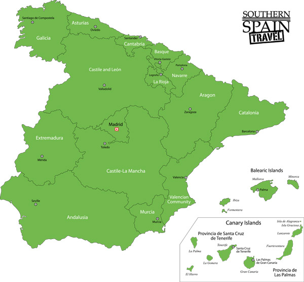 Andalucia On Map Of Spain.Map Of Spain