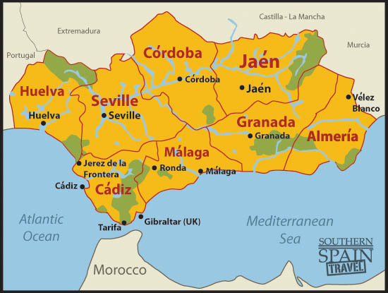 Detailed Map Of Southern Spain.Map Of Spain